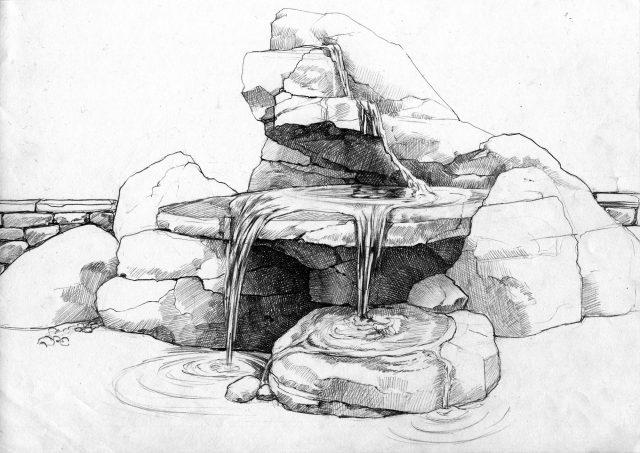 Эскиз водопада на участке