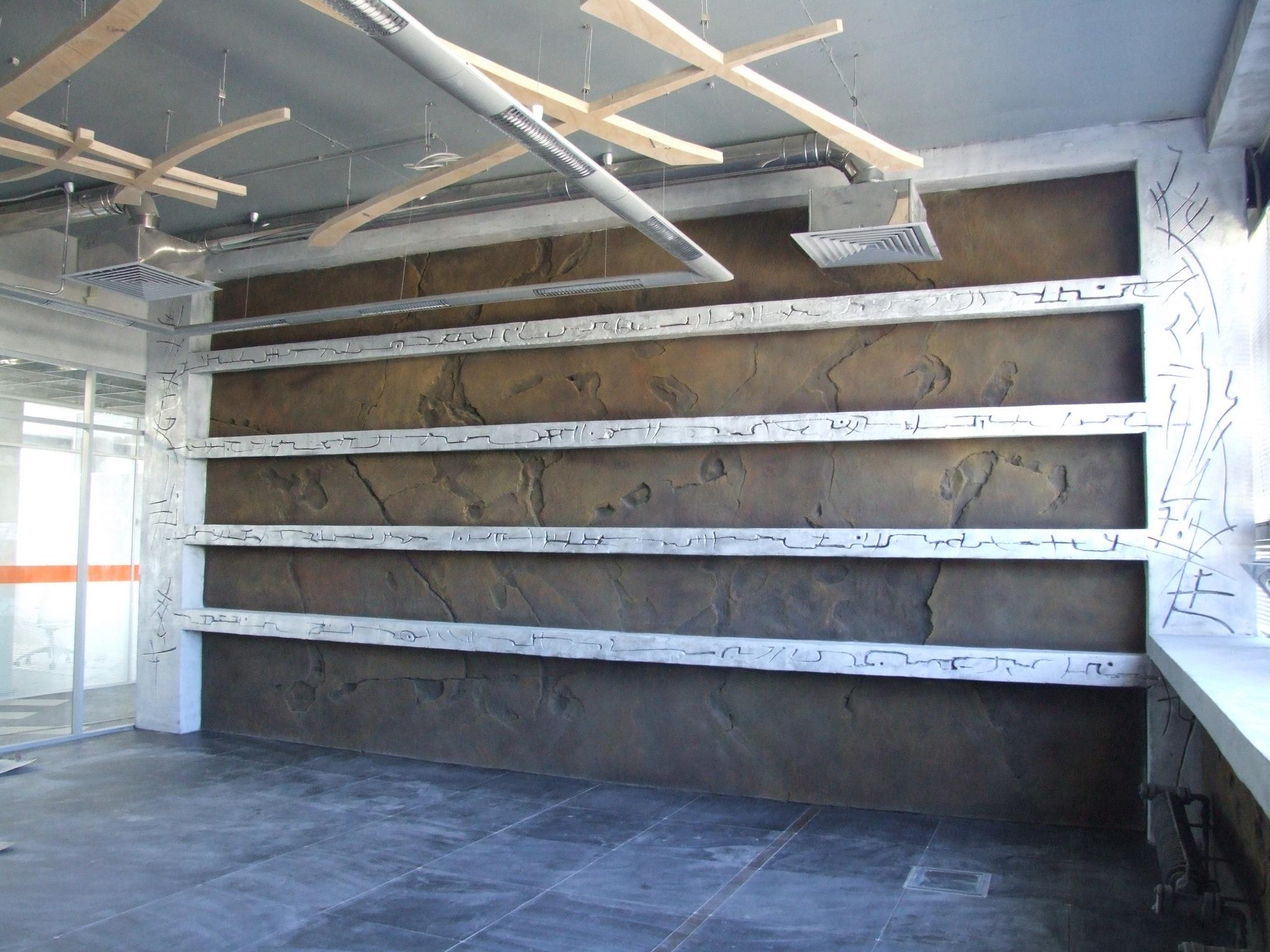 Оформление стены бетоном в японском стиле