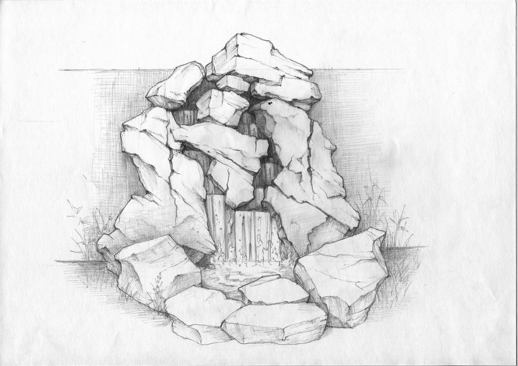 Эскиз искусственного водопада
