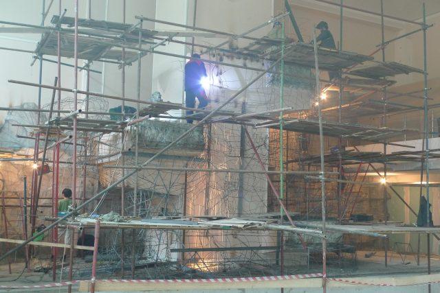 Строительство каркаса для водопада